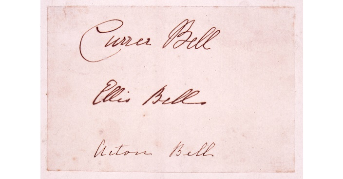 Photo of the signatures of the Brontë women using their pseudonyms Currer, Ellis and Acton Bell