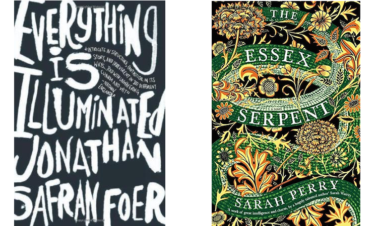The covers of Everything is Illuminated and The Essex Serpent.