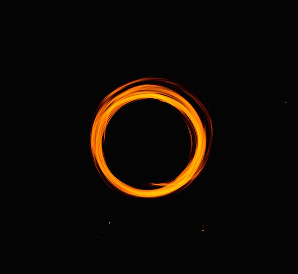 Orange circle drawn with fire