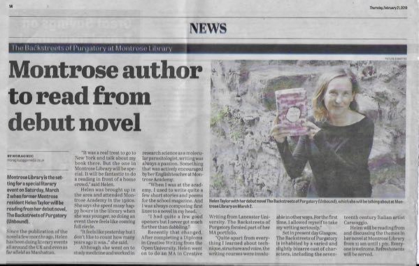Montrose Review article about Helen Taylor and The Backstreets of Purgatory